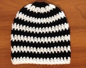 Crocheted Black and White Baby Hat; Baby Beanie; Newborn - 3 Months
