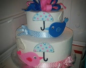 Handmade Edible Fondant Birds and Umbrellas Cake Topper Set