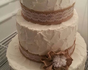 Burlap and Lace  Ribbon and Flower Cake Embellishment