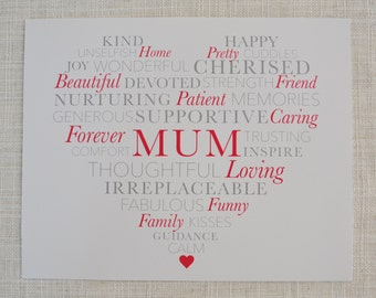 """Mother's Day 'MUM' poster. Digital File, 10x8"""". Customise to suit!"""