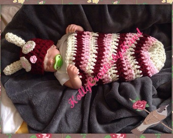 Baby Caterpillar Cocoon , Pink Cocoon, Very Hungry Crochet Caterpillar Photo Prop, Halloween Caterpillar Costume - READY TO SHIP