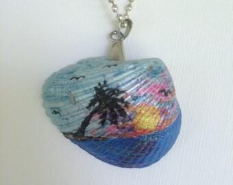 Hand Painted Sea Shell Pendant