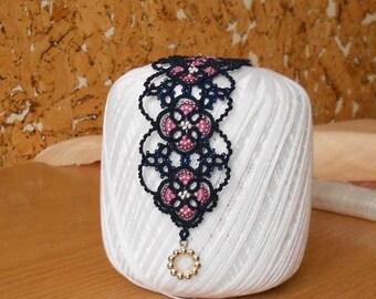 Blue lace bracelet, tatted bracelet, tatting jewelry, tatting jewellery, knitted bracelet