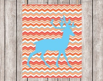 Deer, Art Print, Tribal, Chevrons, Orange, Turquoise, Nursery Art, Printable, Wall Art, 8 x 10 Instant Download