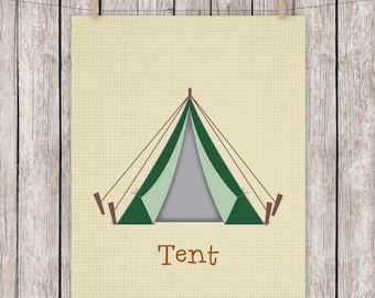 Camping, Art Print, Tent, Outdoors, Printable, Typography, Wall Art, 8 x 10 Instant Download