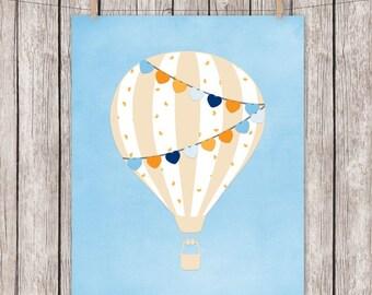 Hot Air Balloon, Art Print, Blue, Orange, Nursery, Hearts, Printable, Wall Art, 8 x 10 Instant Download