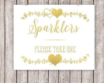 Gold Foil Wedding Sign Printable Wedding Sign Two Hearts Sparklers 8x10 Instant Download Digital File