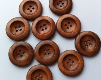"""10 Wooden Buttons 25mm Wood Buttons 1"""" inch Button Medium Brown Coffee Round Embellishments Craft button Sewing Notions Craft Supplies diy"""