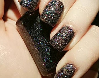 "Black Gray Holographic Glitter 5 Free Nail Polish ""Literally"""