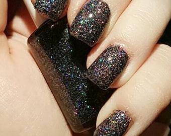 "Black Gray Holographic Glitter 5 Free Nail Polish ""Literally"""