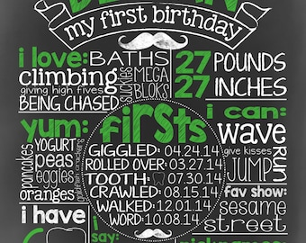 1st Birthday Chalkboard Digital Print