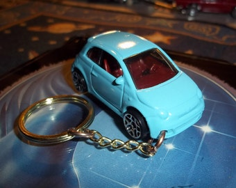 custom made 2007 to 2014 fiat 500 coupe keychain,gloss turquoise w/black tires on white or black mags/repaint mint