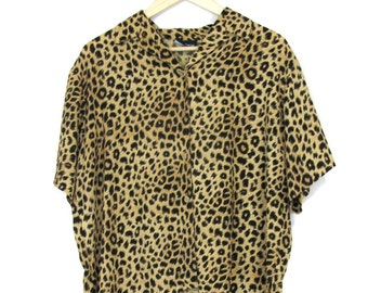 90's Oversized Cheetah Top