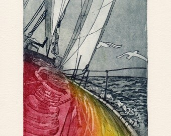 Sailing boat - yacht - sea original color etching - fine art print - graphic - miniature - limited edition - etching - print