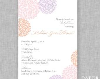 Girl Baby Shower Invitation - Dahlia Flowers