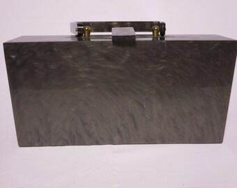 Dark Gray Marbleized  Wilardy Original Lucite Box Purse