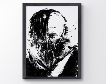 Bane Dark Knight movie poster, Bane Art, Dark knight rises, Art Print, black and white art, Bane Mask