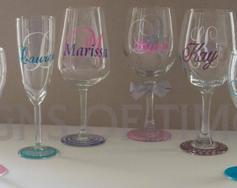 Vinyl decal bridesmaid on etsy a global handmade and for Do it yourself wine glasses