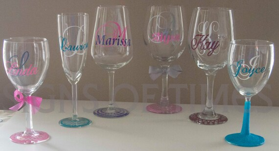 Items similar to wedding bridesmaid wine glasses decals for Do it yourself wine glasses