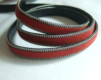 1 Yard Dark Red 10x2mm Flat Suede Leather cord , imitation flat leather cord 10mm
