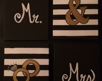 """Black, White and Gold, Group of 4 """"Mr. & Mrs."""" canvas artwork"""