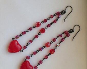 Red Czech Glass Heart Dangling earrings