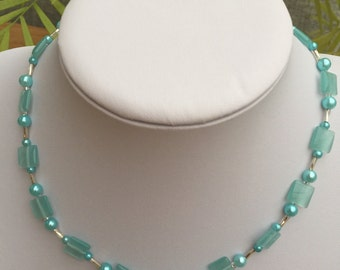 Hand Crafted Beaded Blue and Silver Necklace