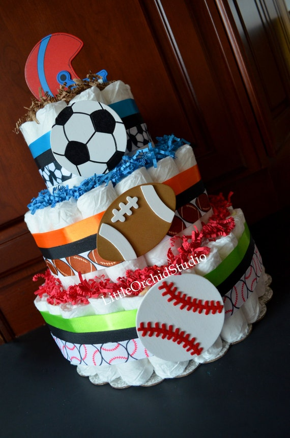 Items Similar To Sports Diaper Cake Boys Diaper Cake Baby Shower Center  Pieces Baby Shower Decor Sports Theme Mommy To Be Football Mom On Etsy