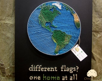 String Art Planet Earth Wall Art Sign, World Map Wall Decor Home