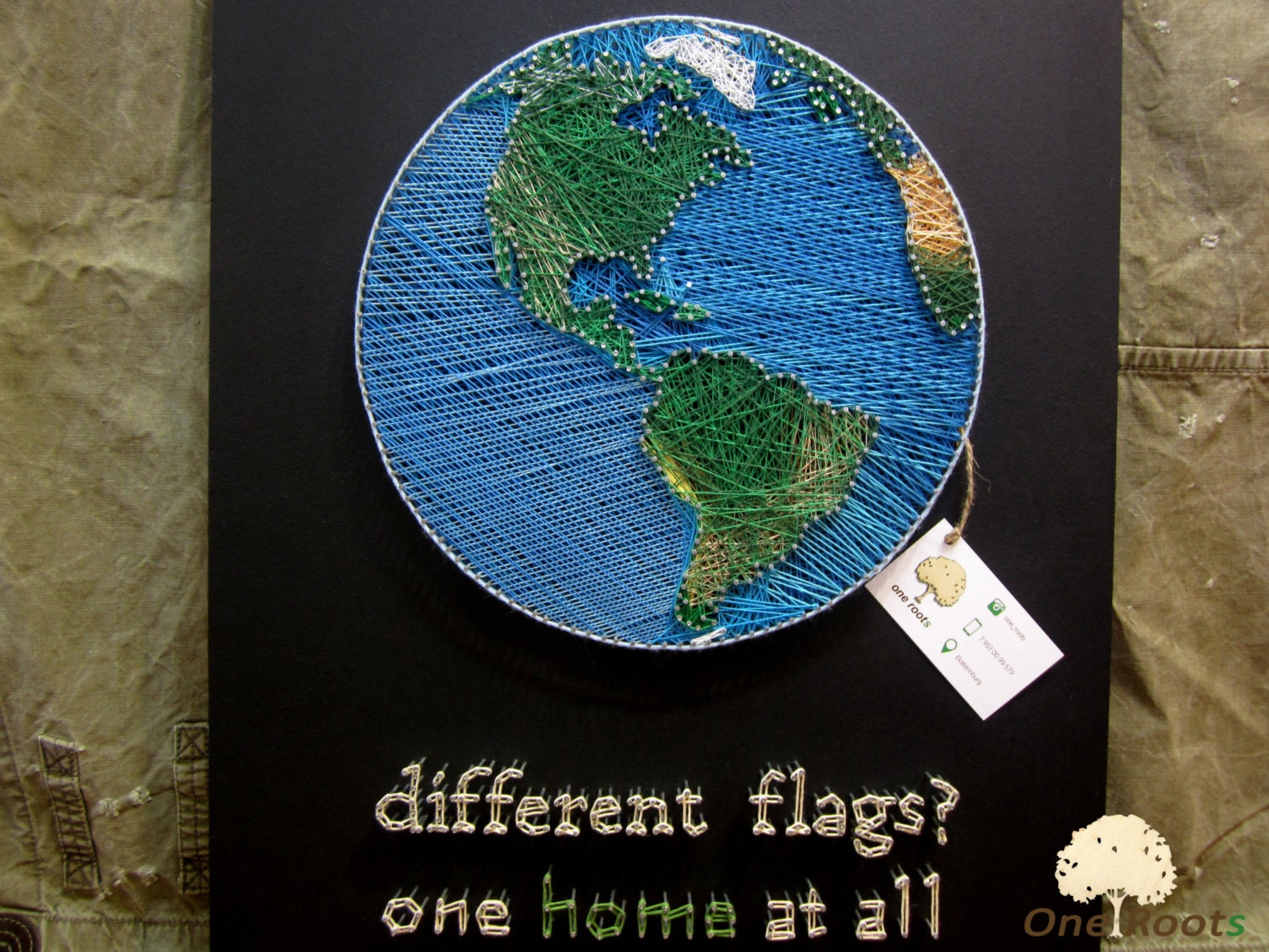 String Art Planet Earth Wall Art Sign World Map Wall Decor