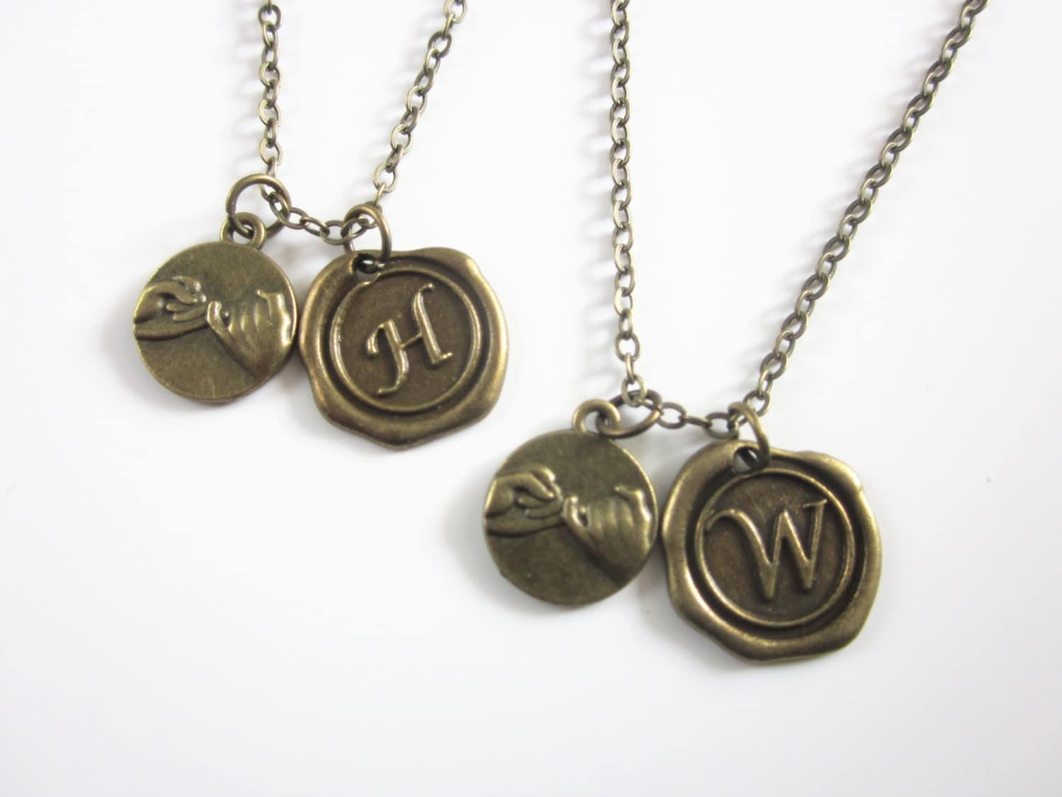 2 pinky promise necklaces with Wax Seal Initial Pinky Swear