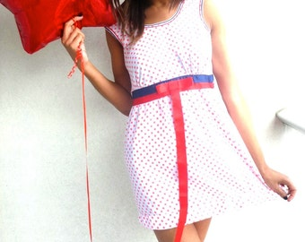 FINAL REDUCTION! Vintage M&S Polka Dot Party Dress with Red/Blue Ribbon Sash. Size 10