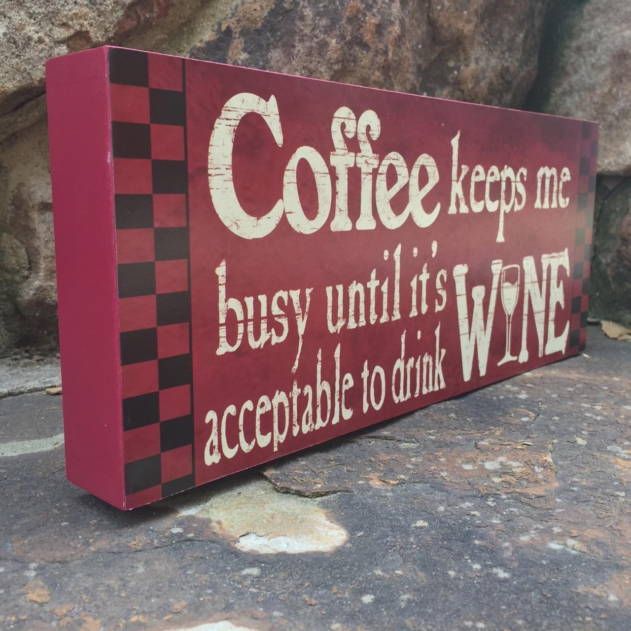 Wooden signs sayings about coffee funny wine by shopmolliesmarket