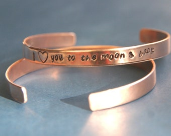 Hand Stamped Copper Cuff Bracelet, Cuff Bracelet, Stamped Custom Bracelet, I love you to the moon and back, Valentine Bracelet