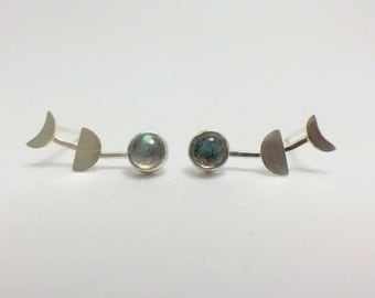 Moon Phases Earrings   Lunar Phases Earrings   Silver Moon Earrings   Silver Lunar Earrings   Moon Studs   Crescent Moon Jewelry
