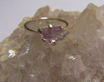 Raw Amethyst Ring   Sterling Silver Solitaire Ring   February Birthstone   February Birthday Ideas   Engagement Ring   Birthday Gift for Her