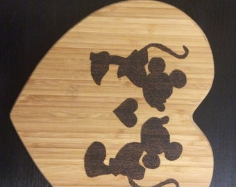Heart Shaped Hand Burned Disney Mickey and Minnie pyrography Cutting Board