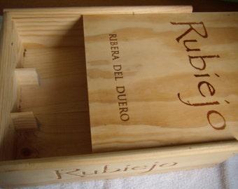 Wooden box. Wine crate. Wine Panel. Storage box.  Spain