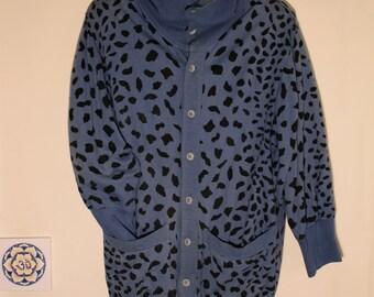 Vintage Oversized Cardigan Leopard Print Sweater 80s High Neck