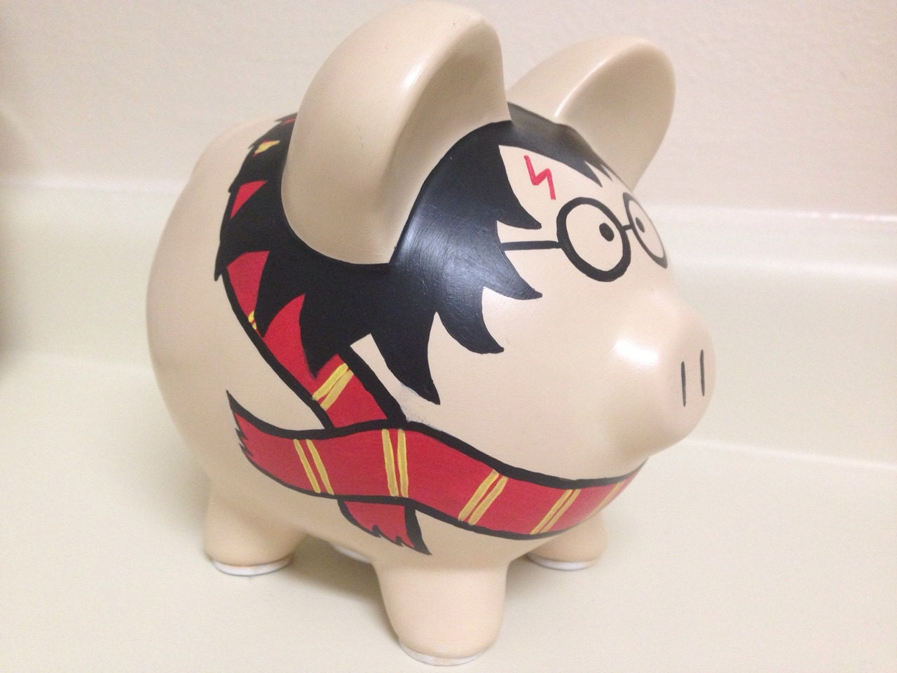 Harry potter painted ceramic piggy bank medium for How to make a piggy bank you can t open
