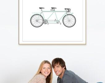 Mint Summer Art, Summer Print, Summer Printable. Mint Bike Print, Mint Green Bike, Mint Bicycle Art, Tandem Bike Wall Art, Mint Tandem Art