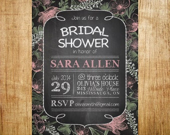 Chalkboard Bridal Shower Invitation- Digital Floral Chalkboard Invite