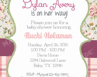 Personalized Vintage Floral #7 Baby Shower Invite, Girl Baby Shower, Boy Baby Shower, Party, Printable file or Printed