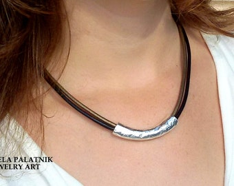 leather necklace, black and bronze necklace, silver cylinder bead necklace, choker necklace, women necklace, raw brass necklace,  charm.