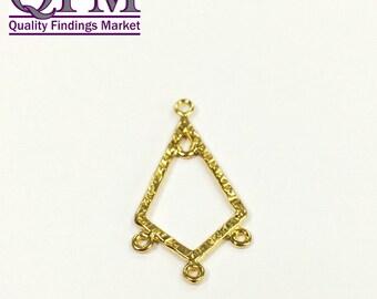 10 pcs Triangular Brass Chandelier 3 Loops 30 x 15 mm