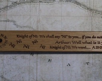 Oak Bookmark; Monty Python Holy Grail The Knights who say ni