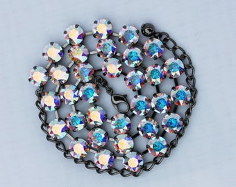 Aurora Borealis 8mm Swarovski Crystal Necklace