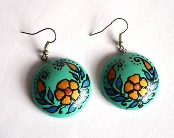 Turquoise earrings|for|her wood jewelry Boho Earrings handmade eco jewelry wooden earrings gift|for|women folk jewelry paint Green earrings