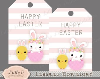 Pink thank you tags etsy studio happy easter gift tag easter bunny printable favour tag birthday thank you tag pink stripe cute easter chick tag instant download negle Images