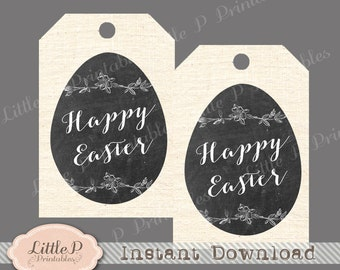 Happy Easter Gift Tag. Chalkboard Easter Egg Printable Favour Tag. Instant Download. Modern Easter Gift Tag. Easter Birthday Gfit Tag
